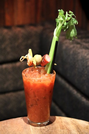 Bloody Dragon made with Grey Goose, Tomato Juice, Kimchi, Red Dragon