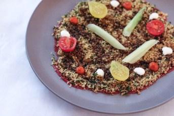 Milanesa Cruda – Brioche Crumbs, Dollops of Tallegio, & Drizzled w/ Smoked Tomato Black Garlic Vinaigrette
