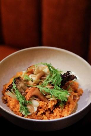 Wild Mushroom Rice - Koshihikari Rice, Wild Mushrooms,Aioli, Pickled Onions, Bitter Greens