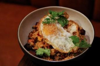 Pork Adobo Rice - Ginger Jasmine Rice, Pork Adobo, Fried Duck Egg,Cilantro, Dried Shrimp, Green Mango Pico