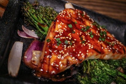 SWORDFISH - miso anticuchera, grilled brocolini, sesame