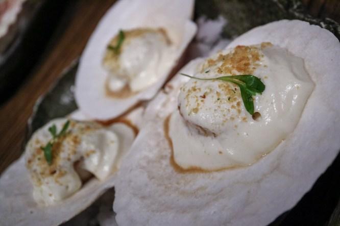 CONCHITAS A LA PARMESANA - parmesan cheese foam, lime, garlic crumbs