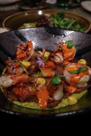 ARROZ VERDE - creamy arborio rice, burrata cheese water, green peas, crostini, chupe sauce, cauliflower puree, shrimp, scallops