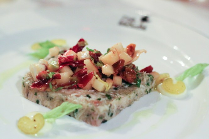 Wardolf Salad was next made with Poulet Pressѐ, Spiced Pecans, Apple, Pickled Celery & Bourbon Soaked Cherries