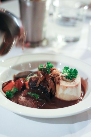 Pot eu Feu of Short Rib, with Bone Marrow, Sweetbreads with Fermented Cabbage and Bourbon Foie Broth