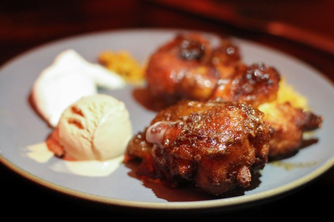 Apple Fritters w/ toasted walnut ice cream & crema
