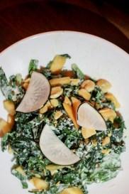Black Kale Salad w/ Almonds, Rainier Cherry & Black Radish