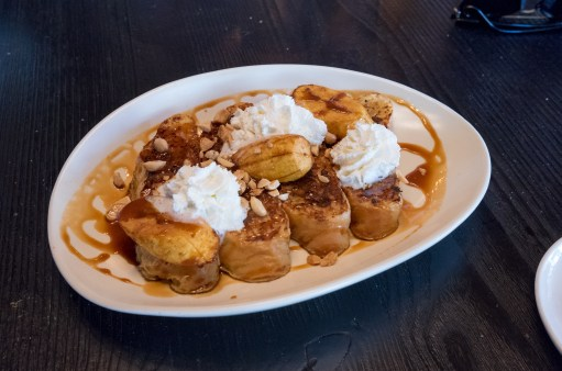 Torrejas, topped with sweet plantains and soaked in cajeta dulce de leche