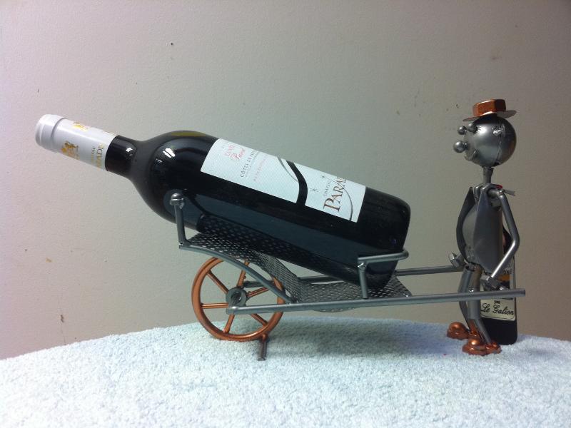porte bouteille brouette en metal