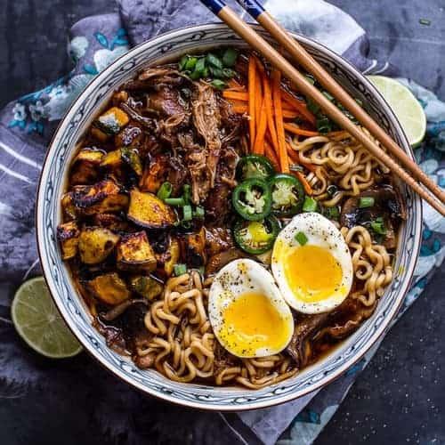 Crockpot Caramelized Pork Ramen Noodle Soup with Curry Roasted Butternut Squash