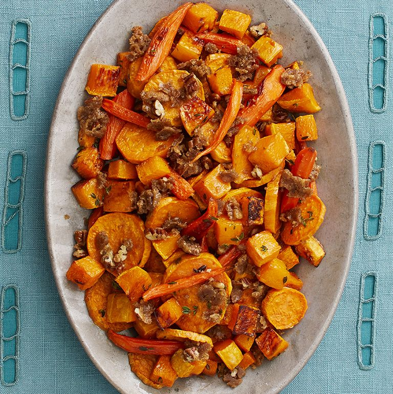 Roasted Fall Vegetables with Pecan Crumble