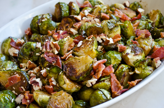 Roasted Maple Brussels Sprouts with Bacon and Pecans