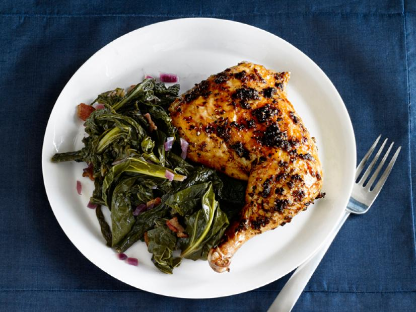 White House Garden Herb-Roasted Chicken with Braised Greens