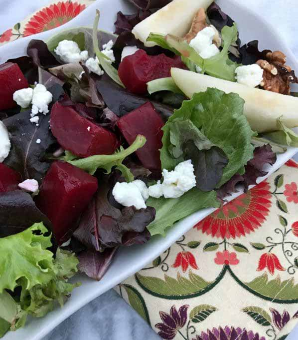 Pickled Beet Salad with Pears and Goat Cheese