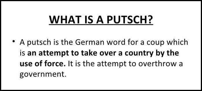 Learn English word putsch history