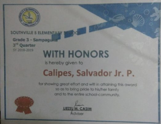 Salvadir Jr, P Caliipes Honor school Certificate