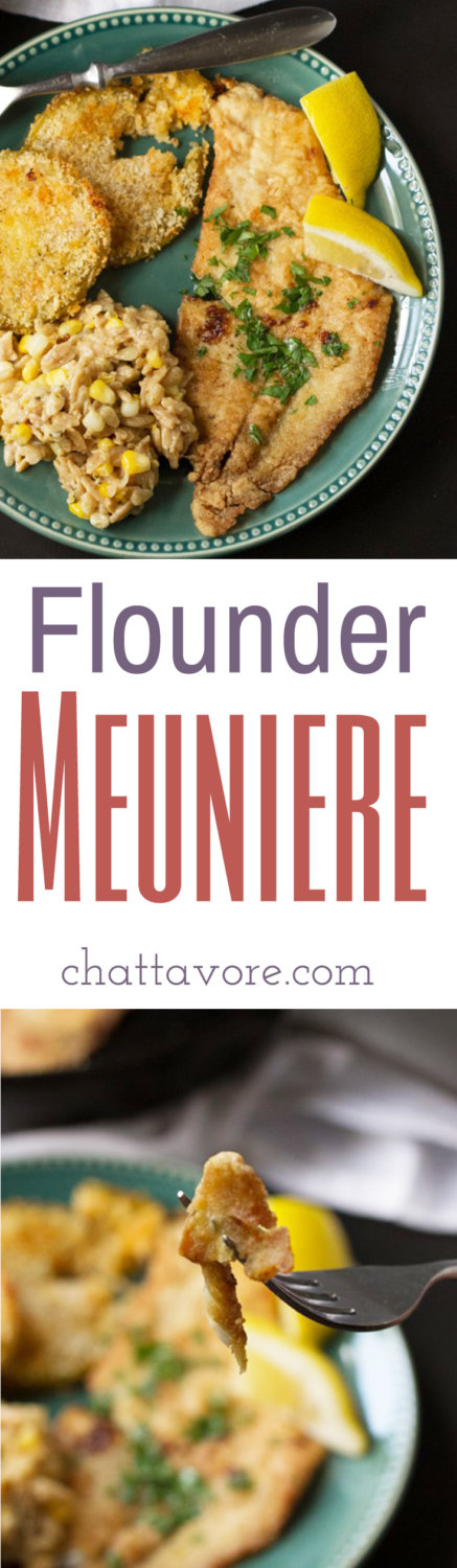 Lightly floured, sautéed in brown butter, and spritzed with lemon, flounder meuniere is a delicious way to serve fish to your family! | recipe from Chattavore.com