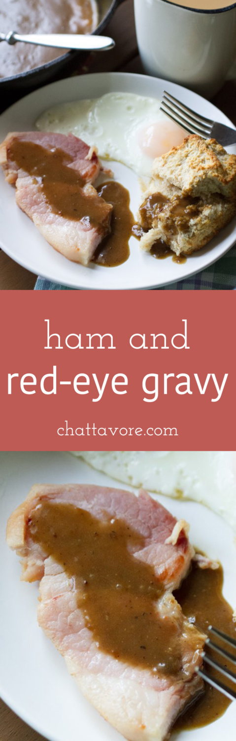 "Ham and red-eye gravy are a classic Southern staple that many have forgotten about. My version is ""toned down"" for those of you who are a little timid! 