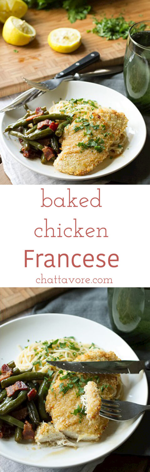 Chicken Francese is usually sautéed with a buttery lemon sauce. My baked chicken Francese has a nice lemon sauce, but it's breaded then baked, not fried! | recipe from Chattavore.com