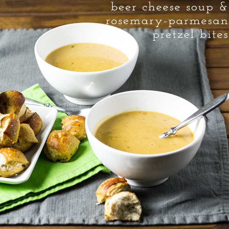 I think we can all agree that this easy beer-cheese soup and rosemary-parmesan pretzel bites are an excellent cold weather decision. | recipe from Chattavore.com