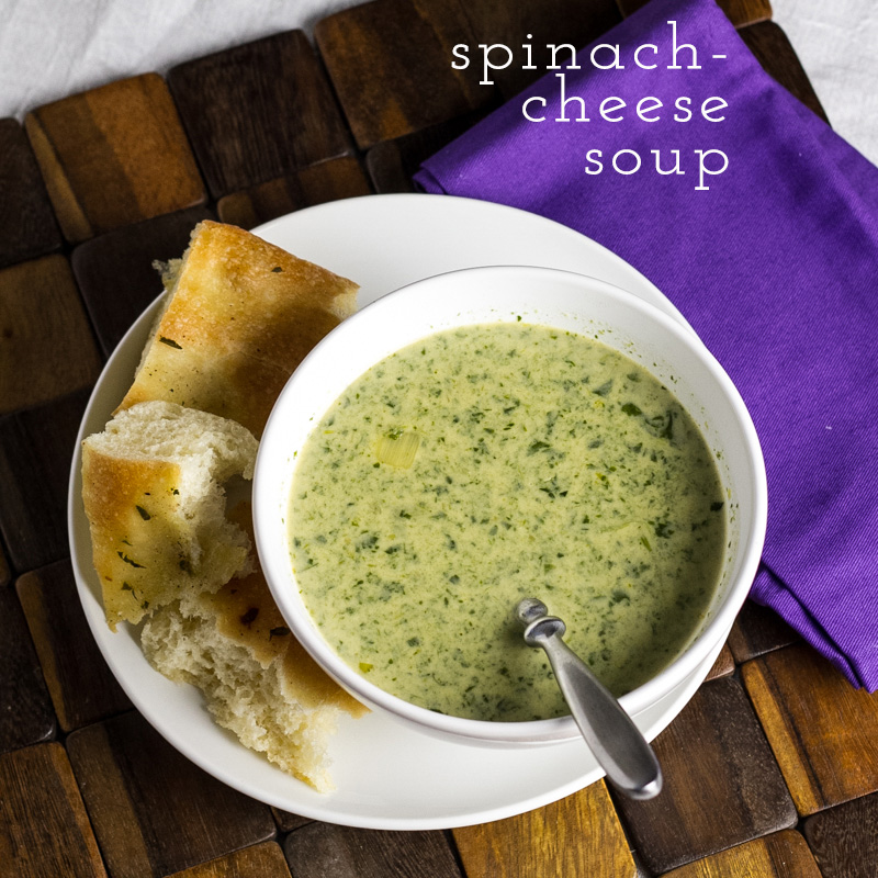 This spinach-cheese soup, adapted from Mastering the Art of French Cooking, is rich and creamy with leeks, Gruyere, and heavy cream. | recipe from Chattavore.com