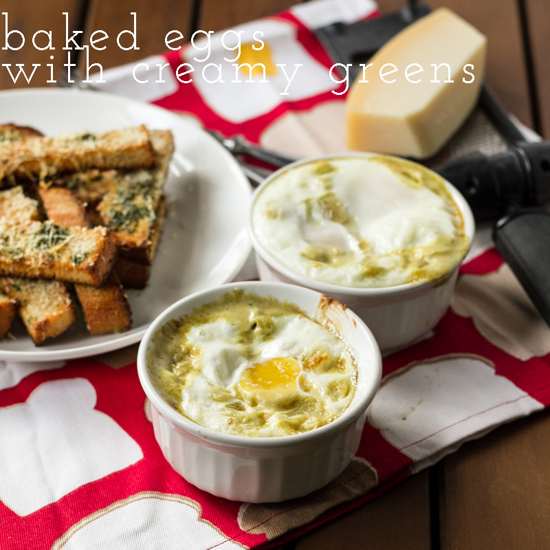 Baked eggs with spinach feels a little decadent and a little healthy, but it's a lot delicious, especially when served with herby toast. | recipe from Chattavore.com