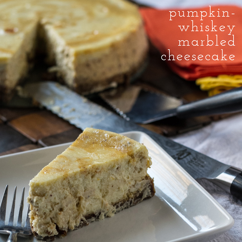 A little late, but I made you guys this marbled pumpkin cheesecake for National Cheesecake Day (and Thanksgiving)! Now, someone come eat it... | recipe from Chattavore.com