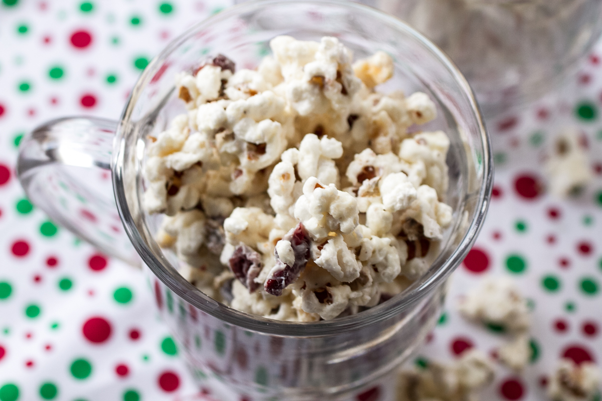 White Chocolate Popcorn with Dried Cranberries - Chattavore