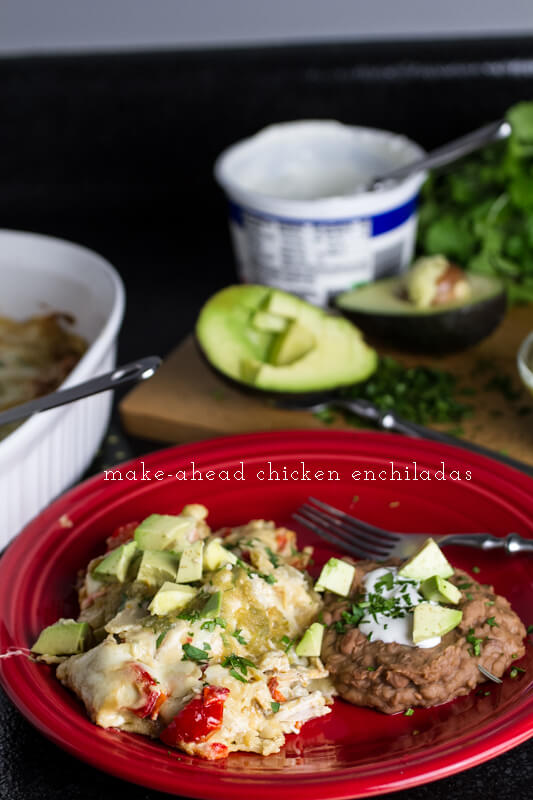 White chicken enchiladas are a great make-ahead meal. You'll be over the moon knowing creamy enchiladas are waiting in your fridge at the end of the day! | recipe from Chattavore.com