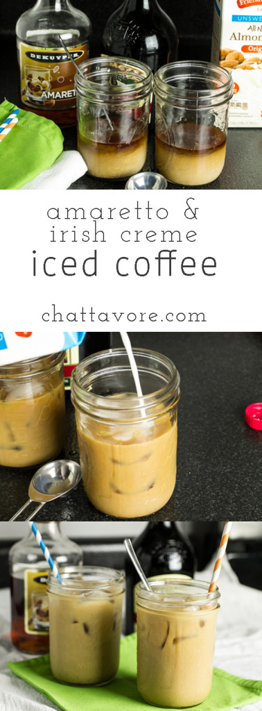 In the summer, drinking coffee during the daytime can be a bit problematic, but that problem is easily solved with this amaretto & Irish creme iced coffee!   recipe from Chattavore.com