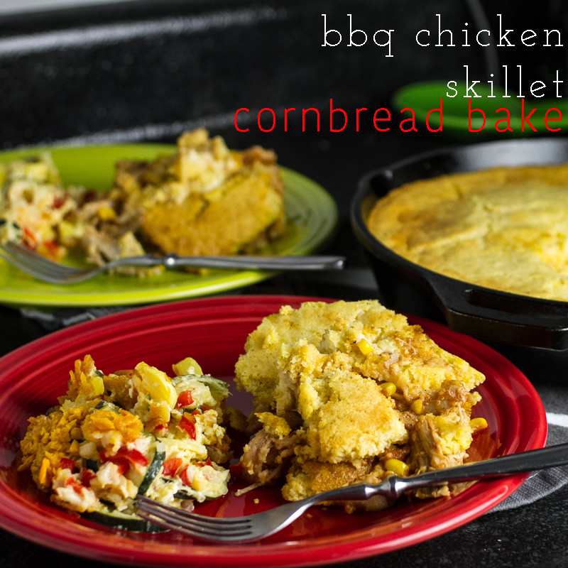 This BBQ chicken skillet cornbread bake is a delicious and easy one-skillet meal! | chattavore.com