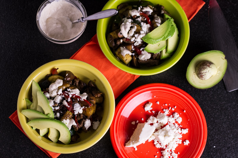 This steak taco bowl is full of vegetables and flavor but not starchy carbs!   chattavore.com