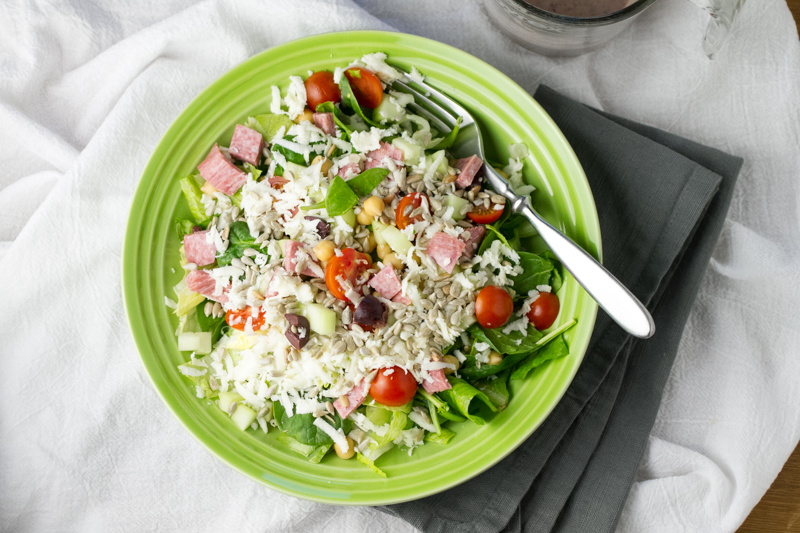 Chop chop salad with creamy kalamata dressing is my version of the house salad from Crust Pizza, one of my very favorite restaurant salads. | recipe from Chattavore.com