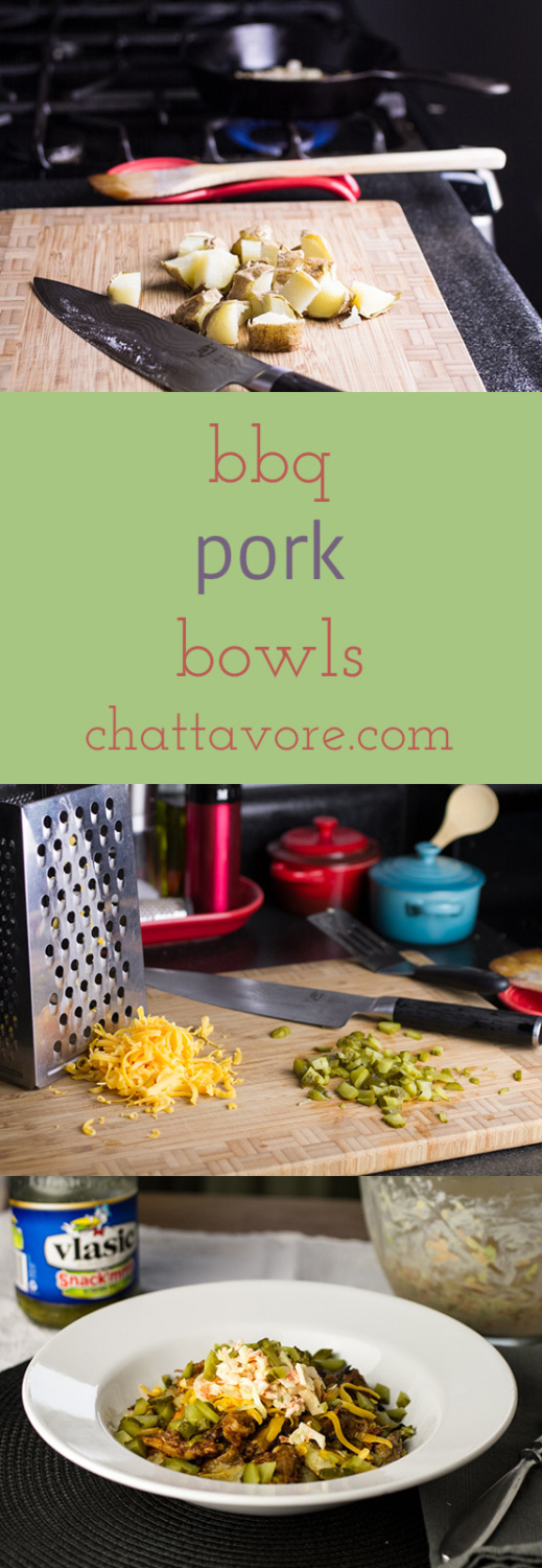 This BBQ bowl with pulled pork, potatoes, coleslaw, and cheese is a one-bowl meal that is great for using up your leftovers! | recipe from Chattavore.com