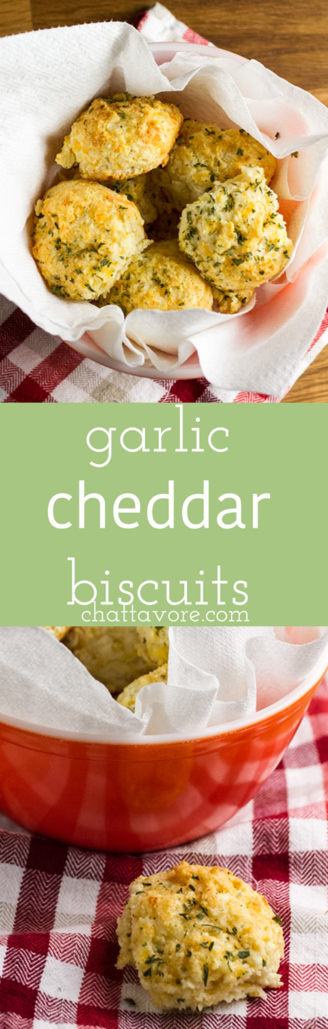 You can buy a mix to make garlic cheddar biscuits at home, but with this recipe you won't need to leave your house for great biscuits! | recipe from Chattavore.com