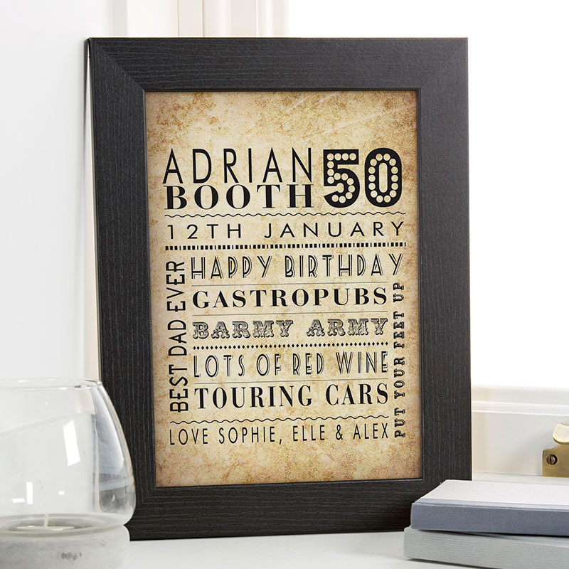 50th Birthday Gifts For Men Personalised Wall Art Pictures