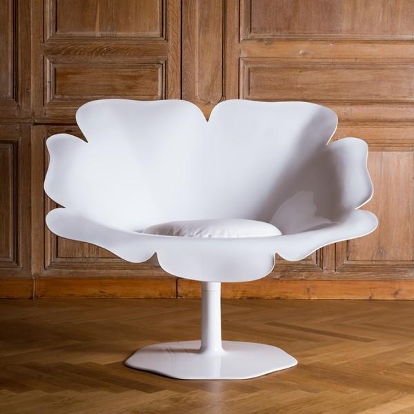 fauteuil coquelicot poppy tres design et original dim l108x9p75xh87cm version mono blanc prix degressif a partir de 2ex