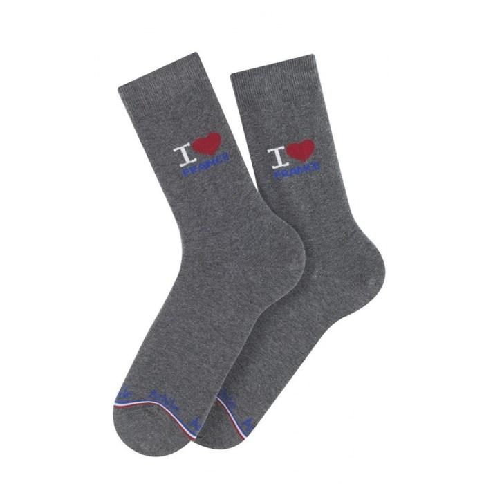 Mi-chaussettes I Love France en coton