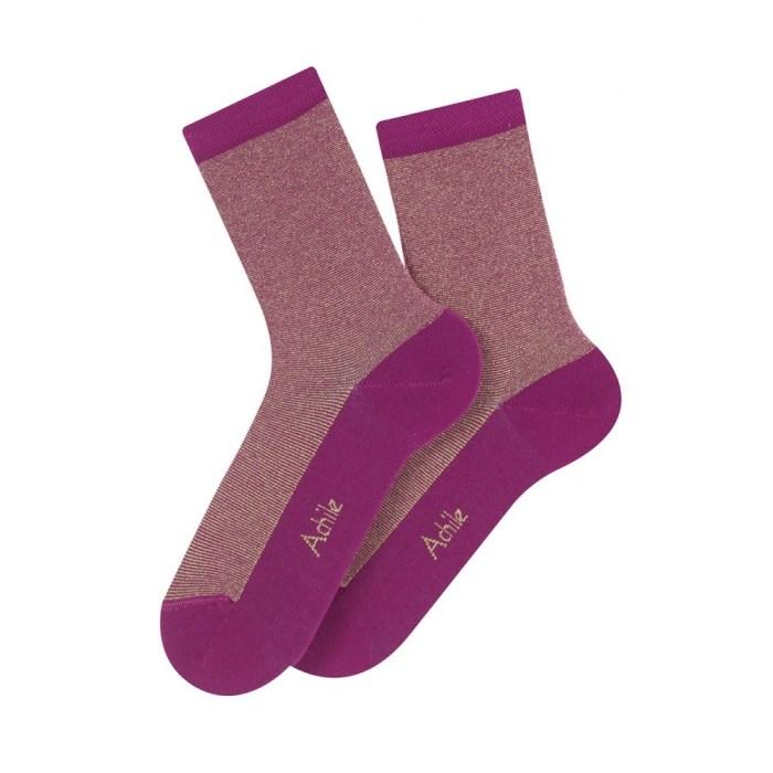 Mi-chaussettes rayures Lurex en coton