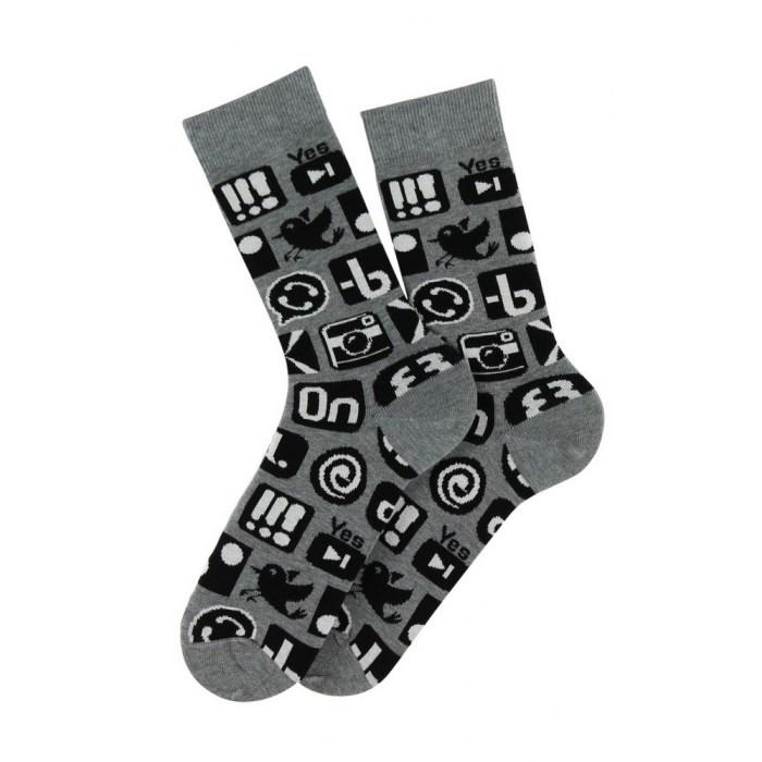 Mi-chaussettes motif Réseaux en coton