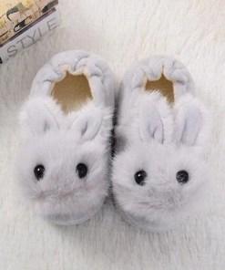 chausson lapin bébé gris dessus