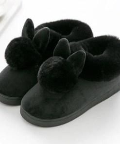 chausson lapin pompon noir