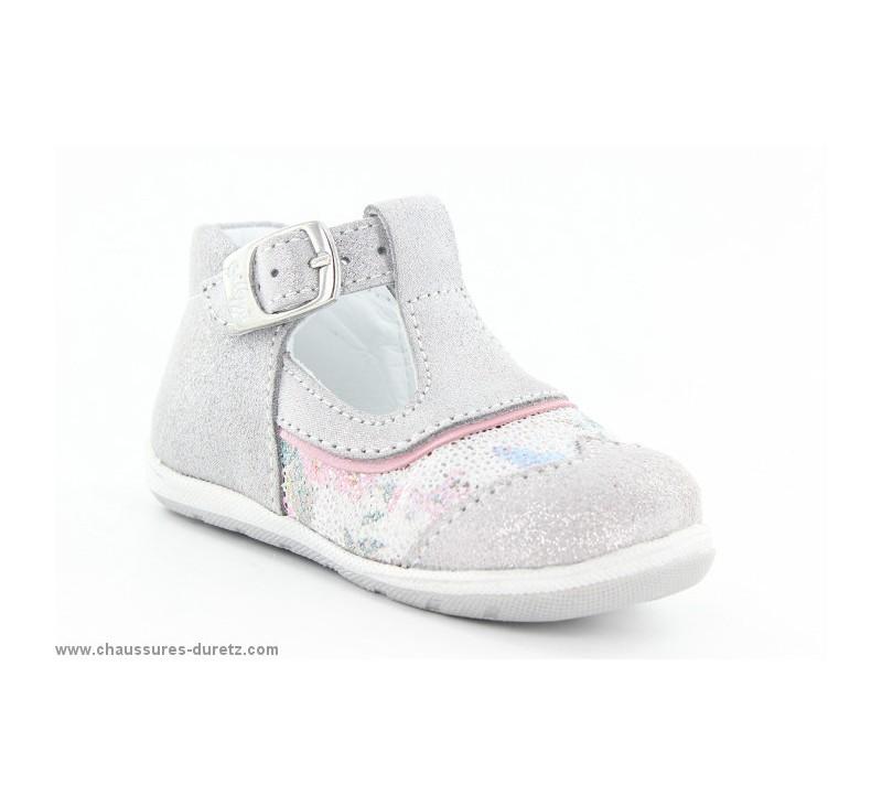 chaussures fille bellamy gaza gris fleuri