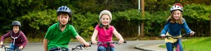 Kids riding bicycles safely
