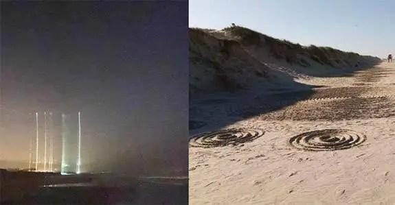 Círculos misteriosos aparecem na areia de uma praia brasileira após avistamentos de luzes misteriosas