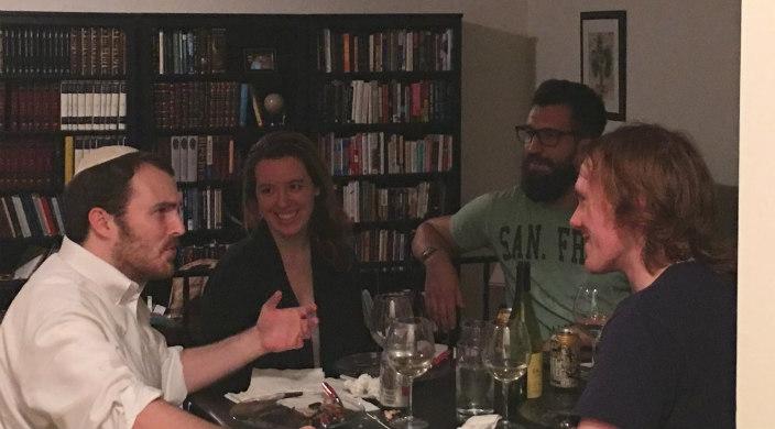 Matthew Stevenson, Derek Black and several others around the Shabbat dinner table
