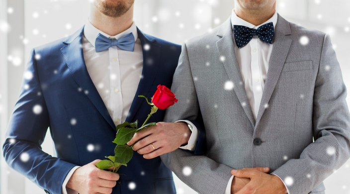 Two men, one holding a rose, shown from the neck down on their wedding day