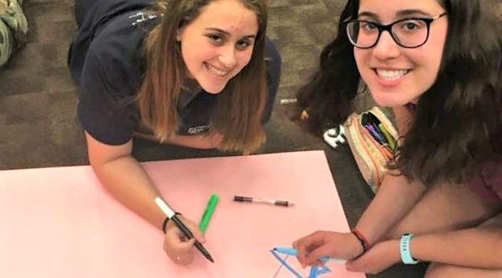 Two female students sitting on the ground and smiling up at at the camera while drawing Stars of David on posterboard