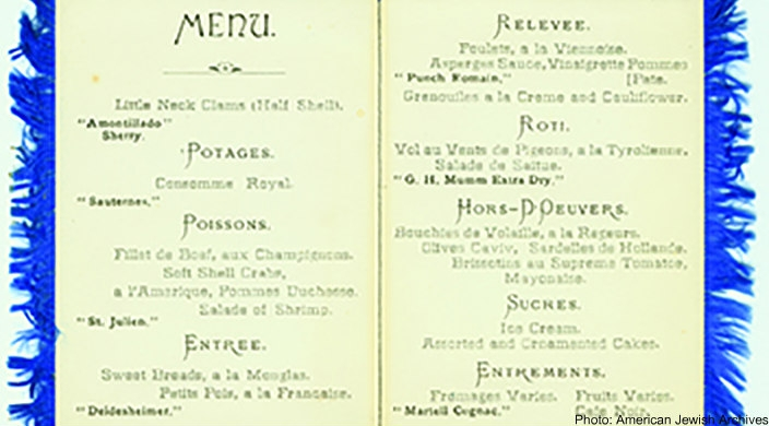 Menu from the Trefa Banquet