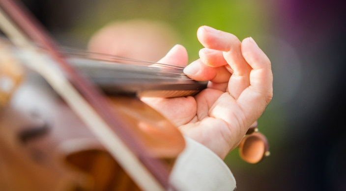 Close-up of violin being played